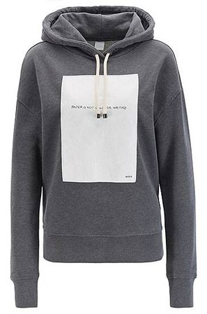 HUGO BOSS Oversized Kapuzen-Sweatshirt mit Slogan-Einsatz grau