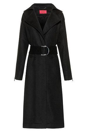 HUGO BOSS Oversized Mantel aus Schurwoll-Mix mit Kaschmir schwarz