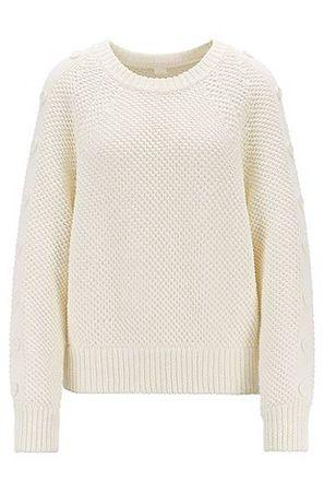 HUGO BOSS Oversized Strickpullover aus Baumwolle mit Knöpfen an den Ärmeln braun
