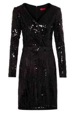 HUGO BOSS Pailletten-Kleid mit langen Ärmeln und Vorderseite in Wickel-Optik schwarz