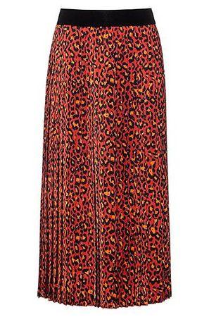 HUGO BOSS Plissee-Rock mit Leoparden-Print rot