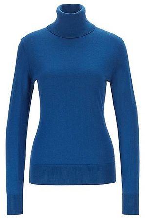 HUGO BOSS Pullover aus Baumwoll-Mix mit Seide und Kaschmir blau
