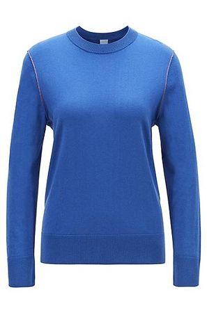 HUGO BOSS Pullover aus Baumwoll-Mix mit Seide und Kaschmir mit Kontrast-Nähten blau