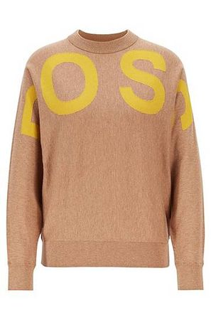 HUGO BOSS Pullover aus Baumwoll-Schurwoll-Mix mit Rundhalsausschnitt und Logo braun