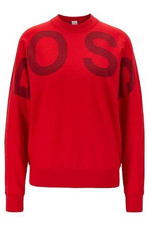 HUGO BOSS Pullover aus Baumwoll-Schurwoll-Mix mit Rundhalsausschnitt und Logo rot