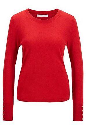 HUGO BOSS Pullover aus Merinowoll-Mix mit goldfarbenen Knöpfen rot