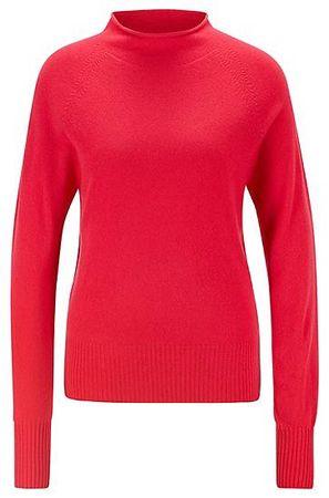 HUGO BOSS Pullover aus reinem Kaschmir mit Trichterkragen rot