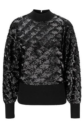 HUGO BOSS Pullover aus Woll-Mix mit Pailletten schwarz