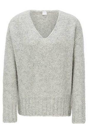 HUGO BOSS Pullover mit V-Ausschnitt und überschnittenen Schultern silber