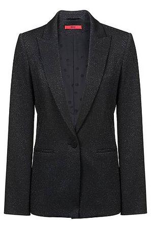 HUGO BOSS Regular-Fit Blazer aus glitzerndem Stretch-Jersey schwarz
