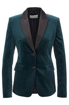 HUGO BOSS Regular-Fit Blazer aus italienischem Samt im Smoking-Stil schwarz