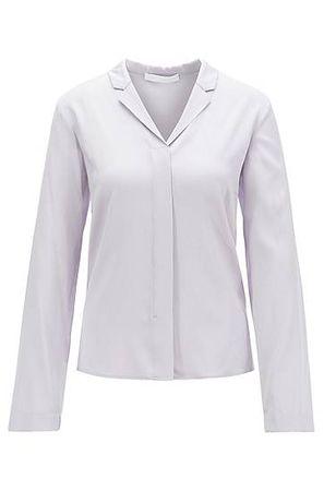 HUGO BOSS Regular-Fit Bluse aus elastischem Crêpe de Chine grau