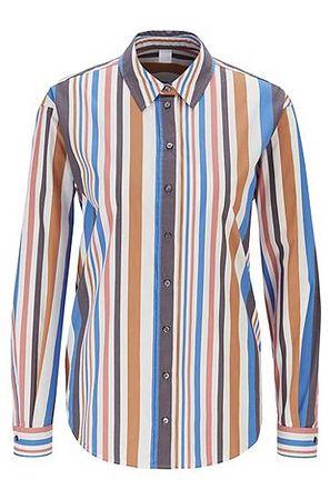 HUGO BOSS Regular-Fit Bluse aus Stretch-Popeline mit Längsstreifen grau
