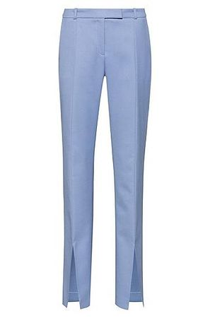 HUGO BOSS Regular-Fit Boot-Cut-Hose mit Schlitzen vorne blau