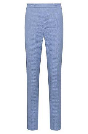 HUGO BOSS Regular-Fit Hose aus elastischem Baumwoll-Mix mit Muster und schmalem Beinverlauf blau