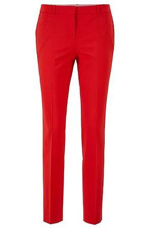 HUGO BOSS Regular-Fit Hose aus italienischer Stretch-Schurwolle rot