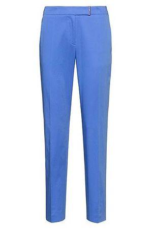 HUGO BOSS Regular-Fit Hose aus Stretch-Baumwolle mit Metall-Detail blau