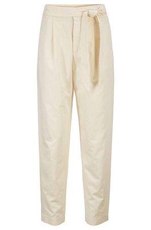 HUGO BOSS Regular-Fit Hose in Cropped-Länge mit Taillengürtel braun