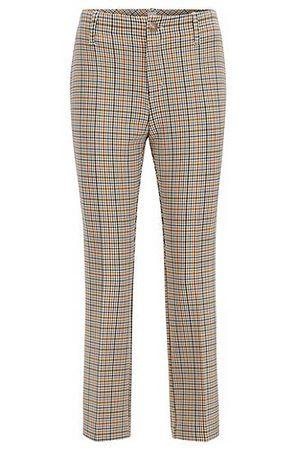 HUGO BOSS Regular-Fit Hose mit farbigem Karomuster braun