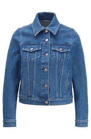 HUGO BOSS Regular-Fit Jacke aus Stretch-Denim mit Logo hinten blau