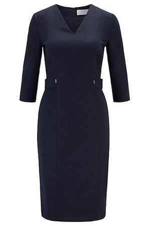 HUGO BOSS Regular-Fit Kleid aus Stretch-Schurwolle mit V-Ausschnitt schwarz