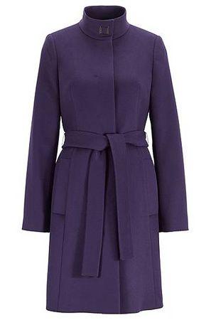 HUGO BOSS Regular-Fit Mantel aus italienischer Schurwolle mit Kaschmir und Bindegürtel grau