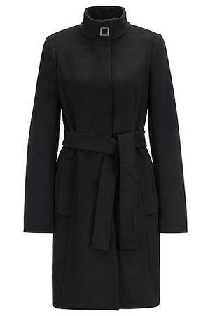 HUGO BOSS Regular-Fit Mantel aus italienischer Schurwolle mit Kaschmir und Bindegürtel schwarz