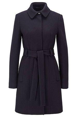 HUGO BOSS Regular-Fit Mantel aus Schurwoll-Mix mit Kaschmir mit Bindegürtel schwarz