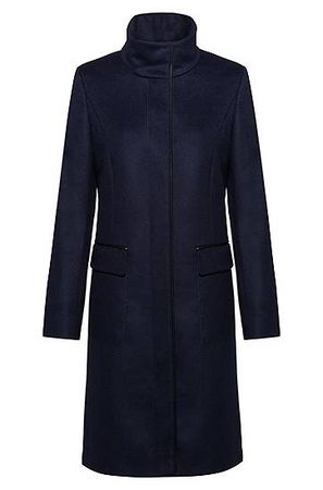 HUGO BOSS Regular-Fit Mantel aus Schurwoll-Mix mit Kaschmir und Innenfutter schwarz