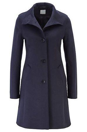 HUGO BOSS Regular-Fit Mantel aus Schurwoll-Mix mit Kaschmir und Knopfleiste grau