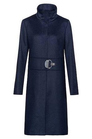 HUGO BOSS Regular-Fit Mantel aus Schurwoll-Mix mit Kaschmir und Stehkragen grau