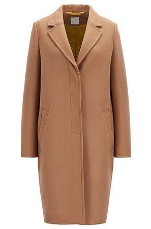 HUGO BOSS Regular-Fit Mantel aus schwerem Woll-Mix mit Kaschmir braun