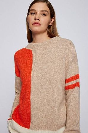 HUGO BOSS Regular-Fit Pullover mit Colour-Block-Intarsien