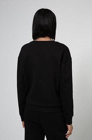 HUGO BOSS Regular-Fit Sweatshirt aus Baumwolle mit rotem Logo-Etikett schwarz