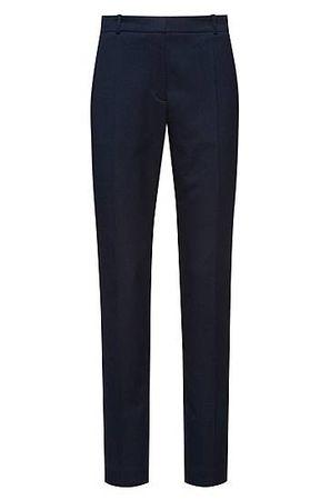 HUGO BOSS Regular-Fit Zigarettenhose aus fein gemustertem Stretch-Gewebe schwarz