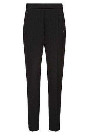 HUGO BOSS Regular-Fit Zigarettenhose aus Stretch-Gewebe mit Metall-Details schwarz
