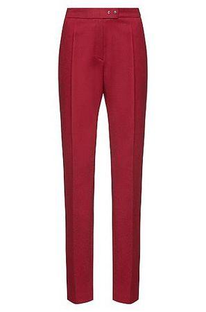 HUGO BOSS Regular-Fit Zigarettenhose aus Stretch-Schurwolle mit Metall-Details pink