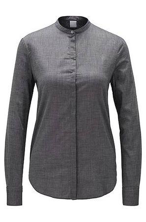 HUGO BOSS Relaxed-Fit Bluse aus Baumwoll-Mix grau