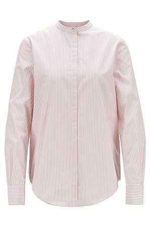 HUGO BOSS Relaxed-Fit Bluse aus gestreifter Baumwolle mit Stehkragen grau