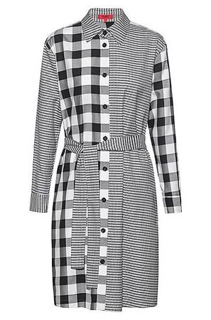 HUGO BOSS Relaxed-Fit Hemdblusenkleid mit Karo-Mix grau