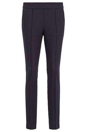 HUGO BOSS Relaxed-Fit Hose aus Stretch-Krepp mit seitlichem Tape grau