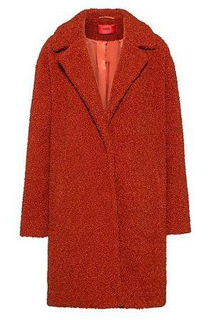 HUGO BOSS Relaxed-Fit Mantel aus Teddy mit Druckknöpfen rot