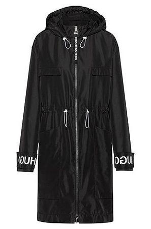 HUGO BOSS Relaxed-Fit Parka mit Logo-Print an den Ärmelbündchen schwarz