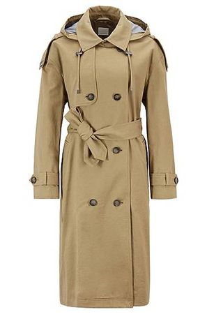 HUGO BOSS Relaxed-Fit Trenchcoat aus Baumwolle mit abnehmbarer Kapuze braun