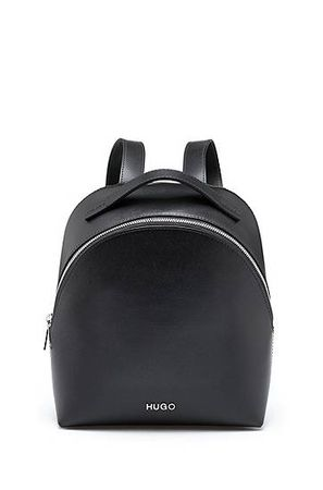 HUGO BOSS Rucksack aus italienischem Palmellato-Leder mit Reißverschluss grau
