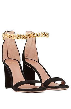 HUGO BOSS Sandalen aus Veloursleder mit hohem Absatz und Ketten-Fesselriemen braun