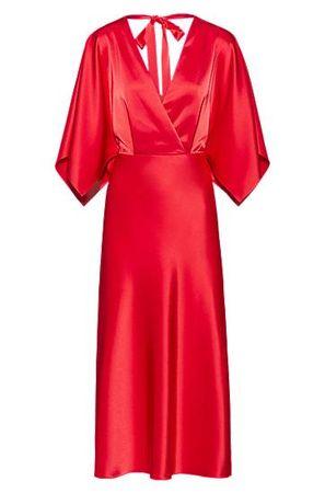 HUGO BOSS Schimmerndes Kleid mit V-Ausschnitt und Bindeband am Nacken rot