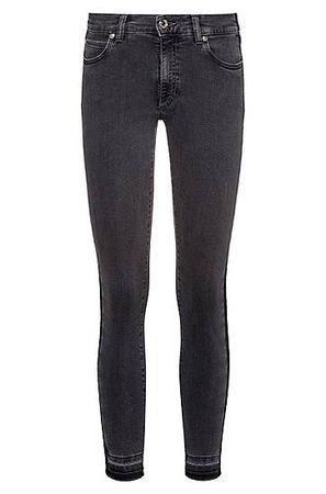 HUGO BOSS Skinny-Fit Jeans in Cropped-Länge mit seitlichen Streifen grau