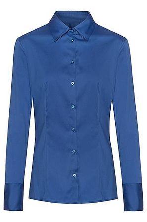 HUGO BOSS Slim-Fit Bluse aus bügelleichter Popeline blau