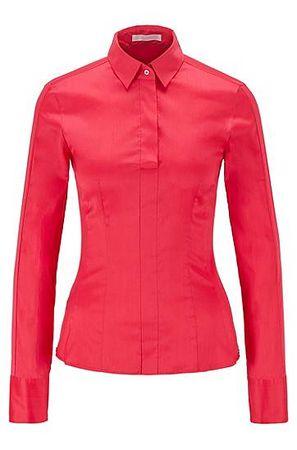 HUGO BOSS Slim-Fit Bluse aus elastischem Baumwoll-Mix mit Popeline-Struktur rot